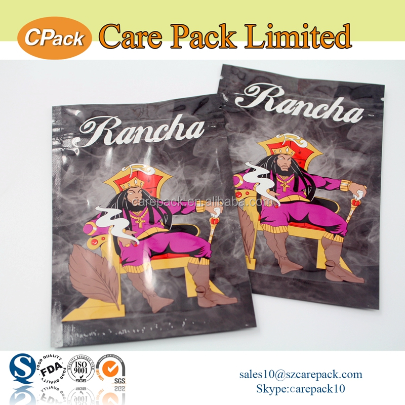 Custom printed plastic bags foil lined for tobacco packaging