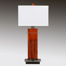 "30.5"" Dark Willow Wood Table lamp with Brushed Nickel and two outlets at back of lamp"