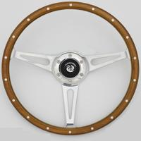 China 350mm Classic wood steering wheel with horn button