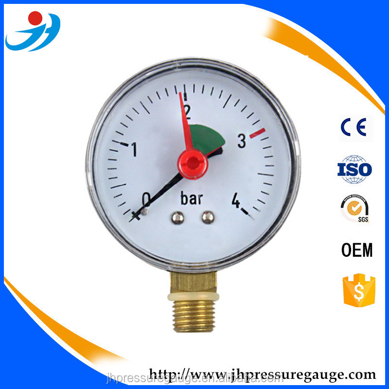 Bottom connection pressure gauge for custom pressure range with red pointer