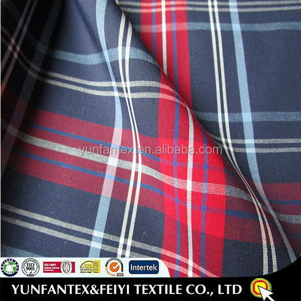 2015 nice comfortable soft High quality 95 cotton 5 SPANDEX plaid STRETCH POPLIN CHECK cotton spandex FABRICS