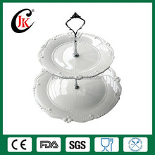 Wholesale fine royal new bone china white embossed two layer ceramic dessert plate with crown design
