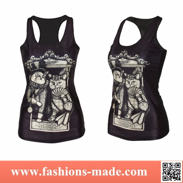 2017 Fashion New Womens Vintage Cat Steampunk Tank Top for Sale