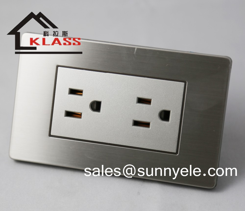 110V american style wall electrical socket brushed stainless, plug socket