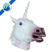 Halloween Horse Head White Unicorn Animal Mask Soft Plastic Mask