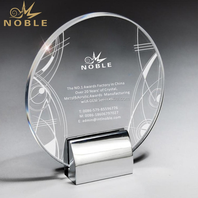metal base Optic plaque award stand Crystal Circle trophy