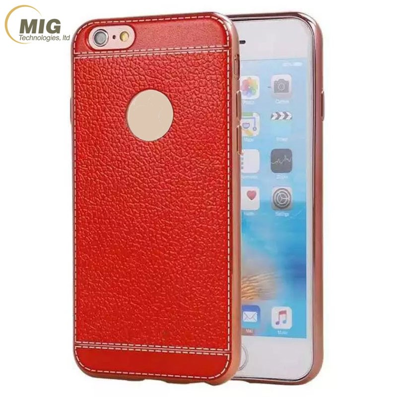 Ultra-thin soft TPU with pu leather back Mobile phone case For apple iPhone 7 electroplating bumper cover