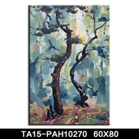 2016 quality beautiful landscaping abstract flower tree house handpainted canvas painting