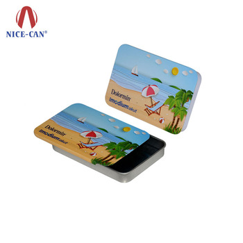 Holiday Game Card Packing Tin Box with Sliding Lid