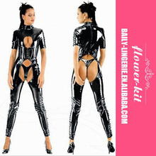 Dangerous Girl PU Outfit Lady Faux Leather Long Open Crotch Catsuit