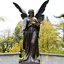 life size bronze winged cemetery angel statue with holding feather