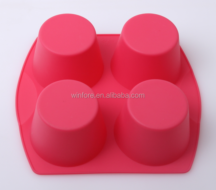 High quality cup shaped 4pcs silicone cake mould for baking