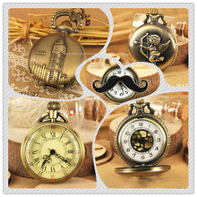 Retro Mens And Women Roman Dial Mechanical Skeleton Pendant Pocket Watch with Chain New