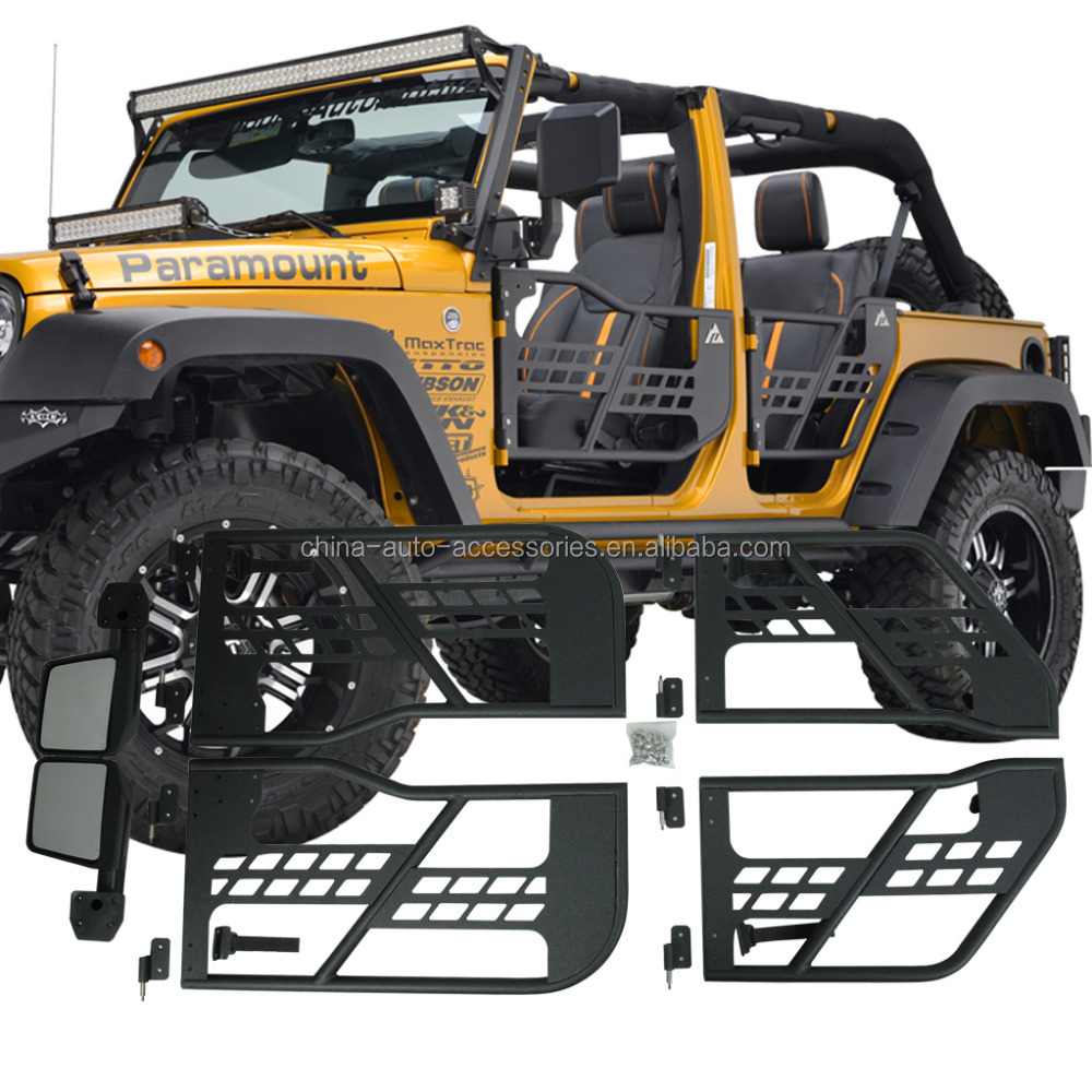 07 16 jeep wrangler jk 4 puertas tubular puertas con espejo de reflexi n parachoques de coche. Black Bedroom Furniture Sets. Home Design Ideas