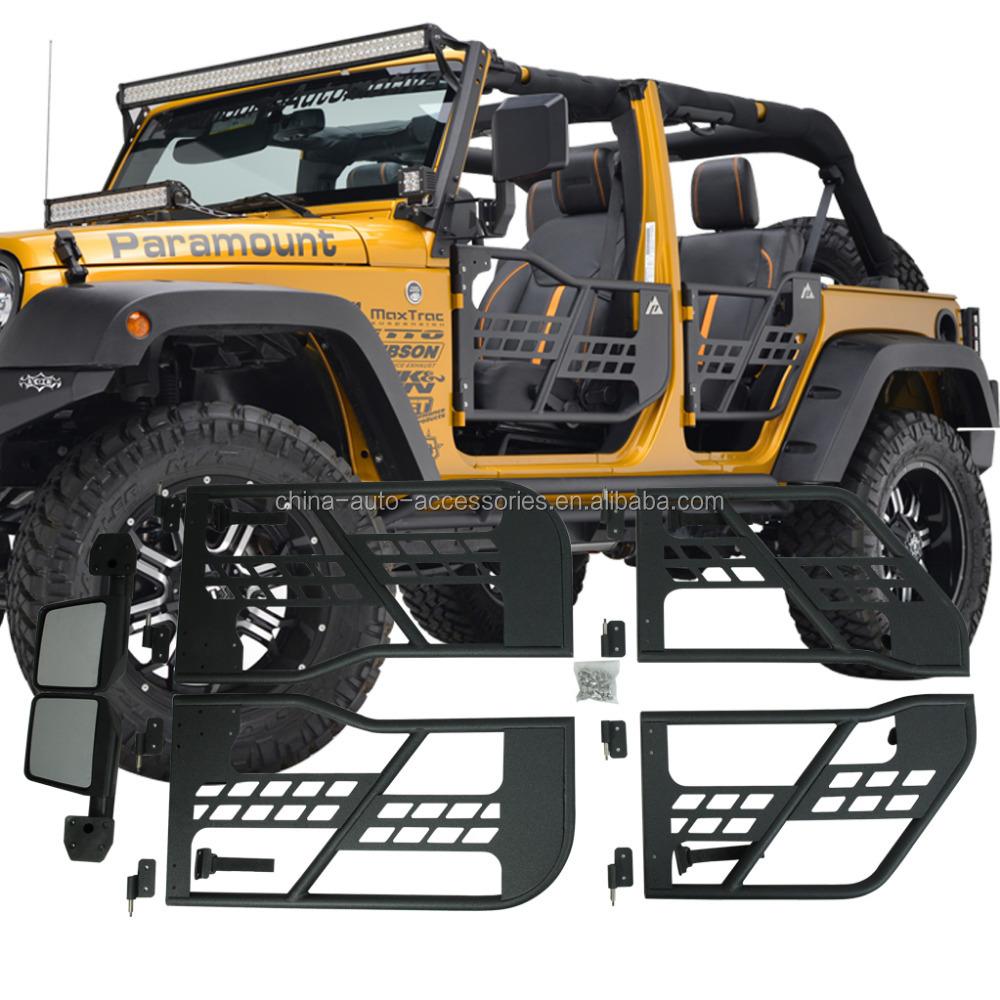 07 16 jeep wrangler jk 4 puertas tubular puertas con espejo de reflexi n parachoques de coche. Black Bedroom Furniture Sets. Home Design Ideas