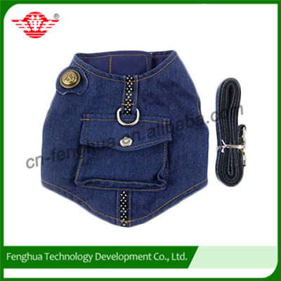 VEST dog harness in jean coth with matching,leather dog leash,dog clothes