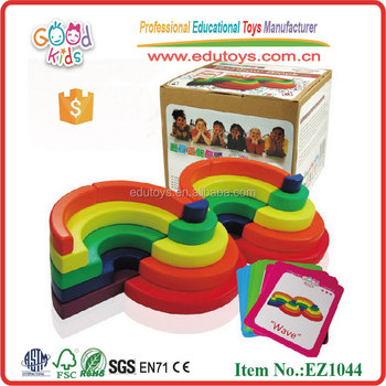 EZ1044 Preschool educational toy rainbow Wooden Pattern Block and match cards