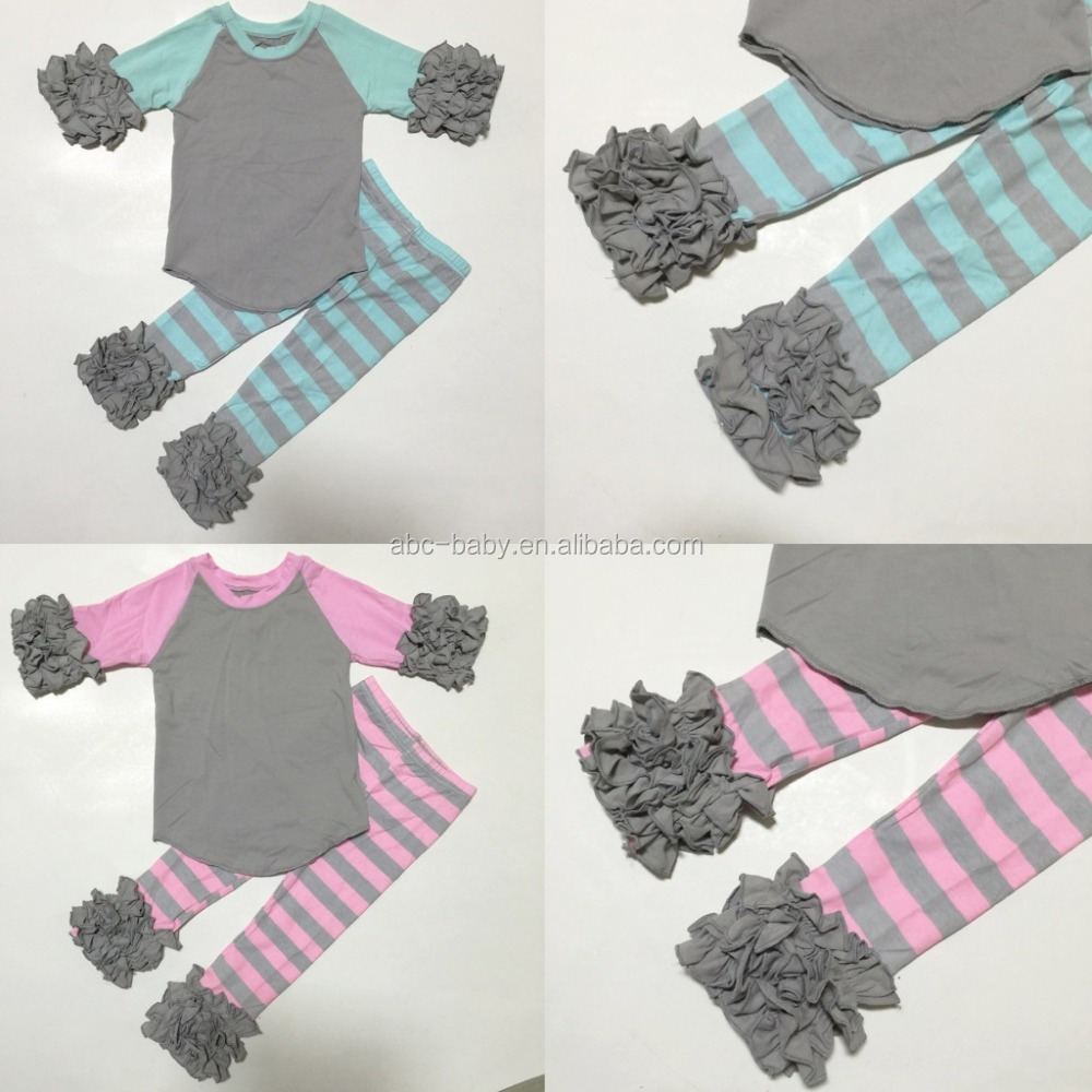 Stripes Boutique Children Clothing Set Toddler Girls Clothing Baby icing ruffle raglan outfit