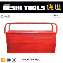 Two folding rod Cantilever tool box with trays Portable hand box