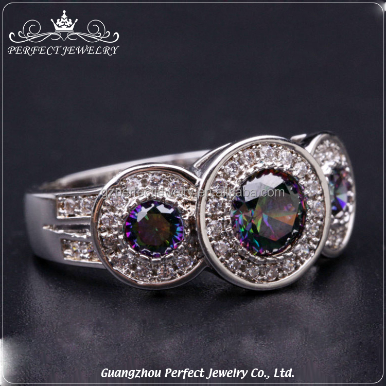 Perfect jewelry factory wholesale silver 925 ring with studded cz diamond and colour cz diamond
