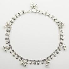 Sterling Silver Charms Anklet 14.50 gr Of Leafs & Spheres