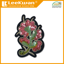 Custom Flower Designs Sequins Embroidery Patch ,Garment Accessories ,Felt Fabric Sequin Bead Badge