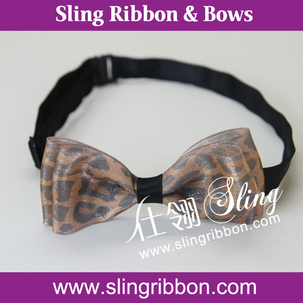 Leopard Printed Sheer Ribbon Bow Tie