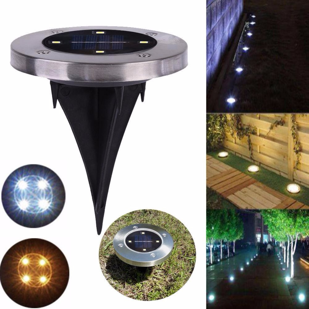 4 LED Solar Light Outdoor Ground Water-resistant Path Garden Landscape Lawn Light