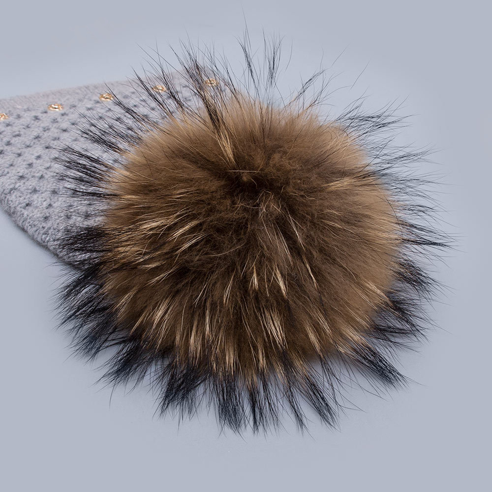 Custom Size Large Natural Raccoon Fur Pom Poms