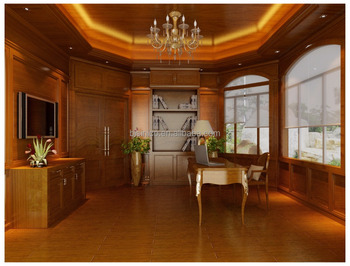 Luxurious Classical 3D Rendering For Home Office Interior And Exterior Design