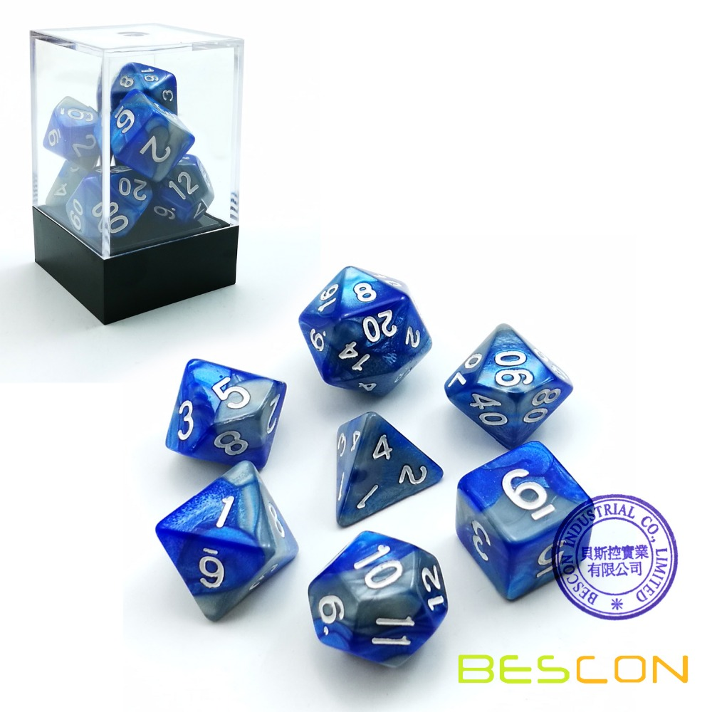 Bescon Gemini Polyhedral Dice Set Steelblue, Two-tone RPG Dice Set of 7 d4 d6 d8 <strong>d10</strong> d12 d20 d% Brick Box Pack