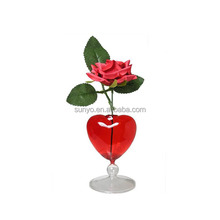 Glass Vase in Red Heart Head Clear Stem Valentine's Day as Gift
