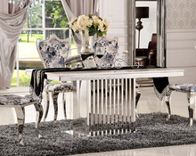 luxury furniture designs stainless steel one leg wedding banquet dining table with marble top