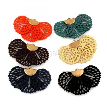 wholesale fashion Velveteen pendant for earrings iron bail flower gold color 45x26x3mm Hole: 3x1.5mm 1317893