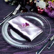 Modern Murano antique beaded clear glass charger plates for wedding decoration