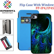 Book Style Sublimation PU Leather Flip Phone Case for iPhone with Open Window for iphone 4