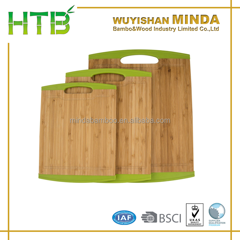 FSC/BSCI/LFGB Vegetable Bamboo Chopping Board with Silicone Edge Cutting Block Bamboo