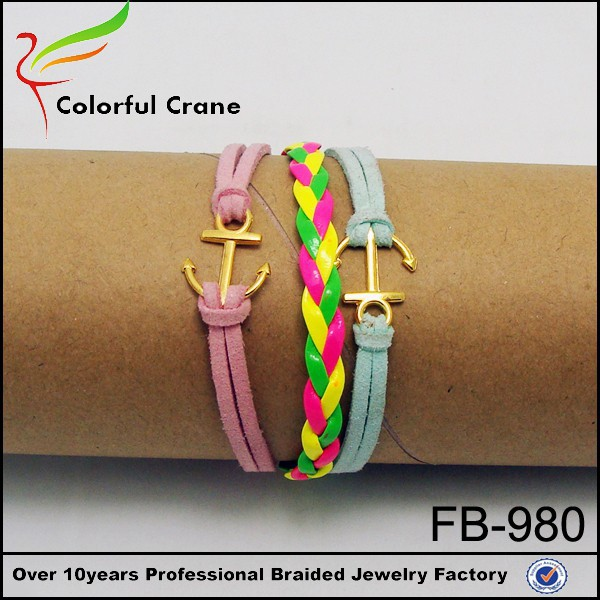 fashion wholesale braided anchor pendant cute handmade cuff bracelets