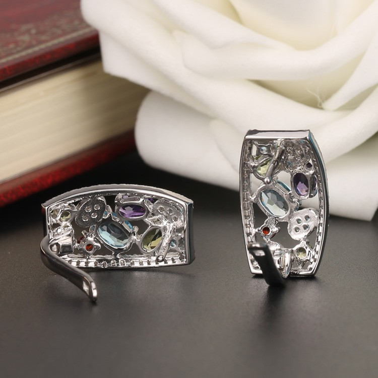 925 Sterling Silver 2.9CT Genuine Gems(Topaz,Amethyst,Garnet,Citrine,Peridot) Handmade Clip on Earring