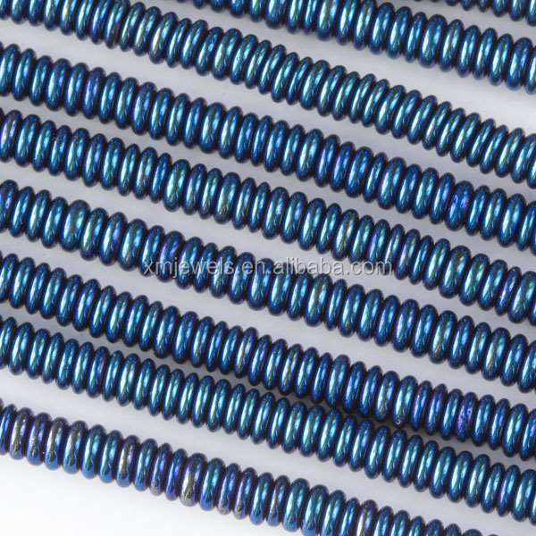 Synthetic Hematite stone Electroplated Blue Rondelle beads