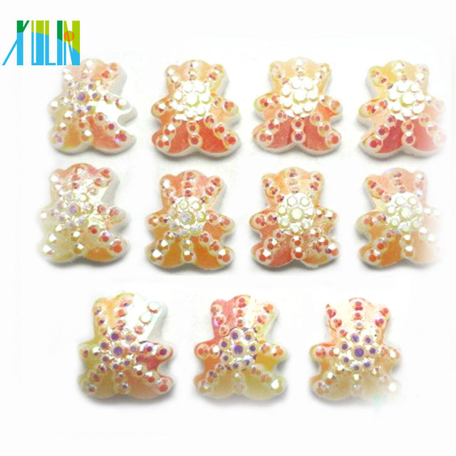 European charm flat back little bear shape resin crystal beads