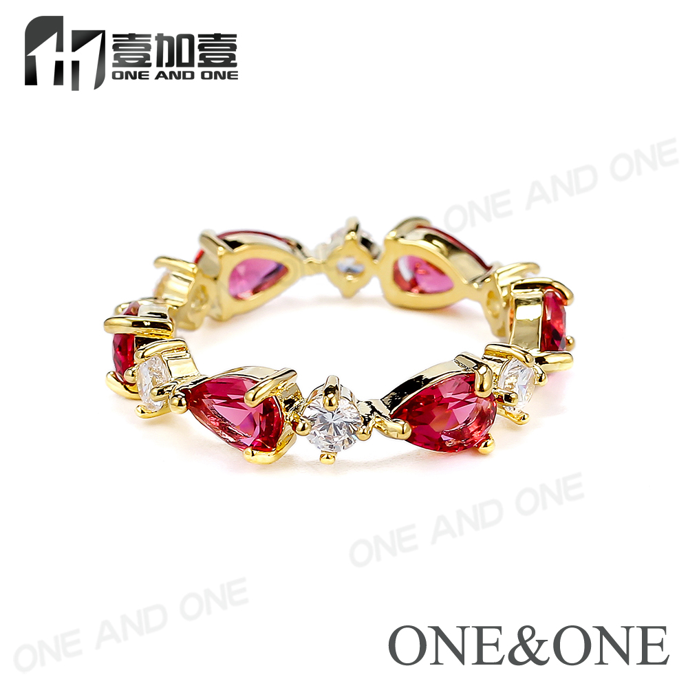 Hot elegant women jewelry latest designs pear crystal zircon copper rings