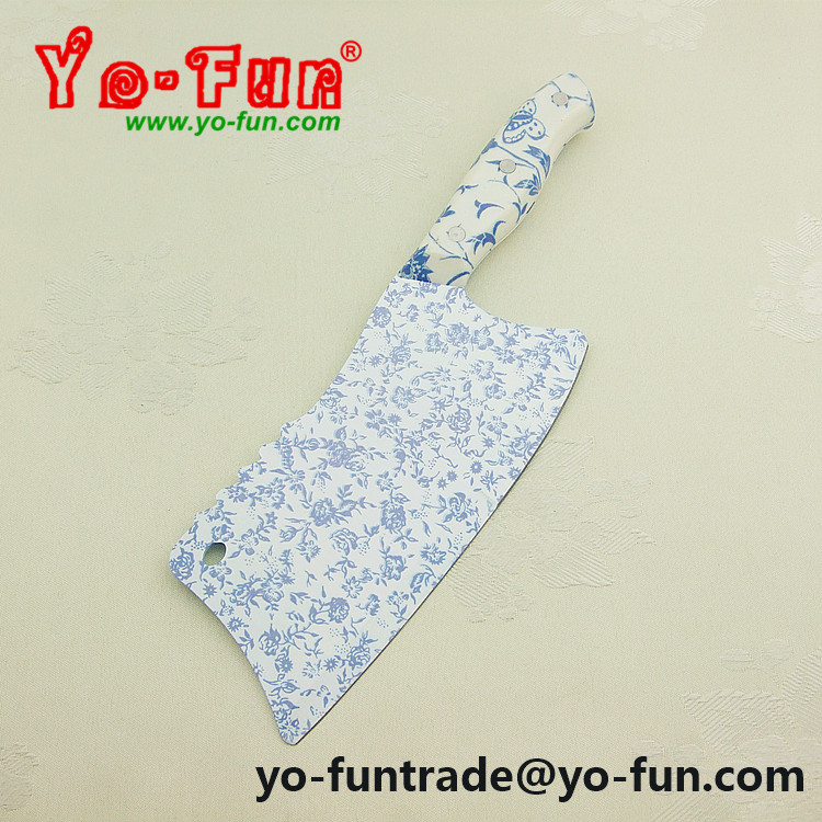 GJH006 flower printing plastic handle stainless steel kitchen cleaver