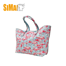 Fashion light blue cotton canvas tote shopping bag, with pink flamingo print,Material in cotton canvas