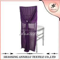 Fancy purple jacquard chiffon chair cover for wedding