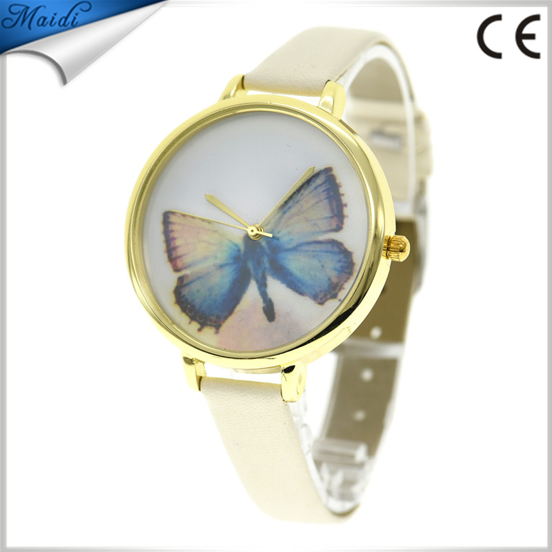 Elegant Thin Leather Wrist Watch Watches For Women Girls Embossed Band Butterfly Pattern Ladies Quartz Watch LW044
