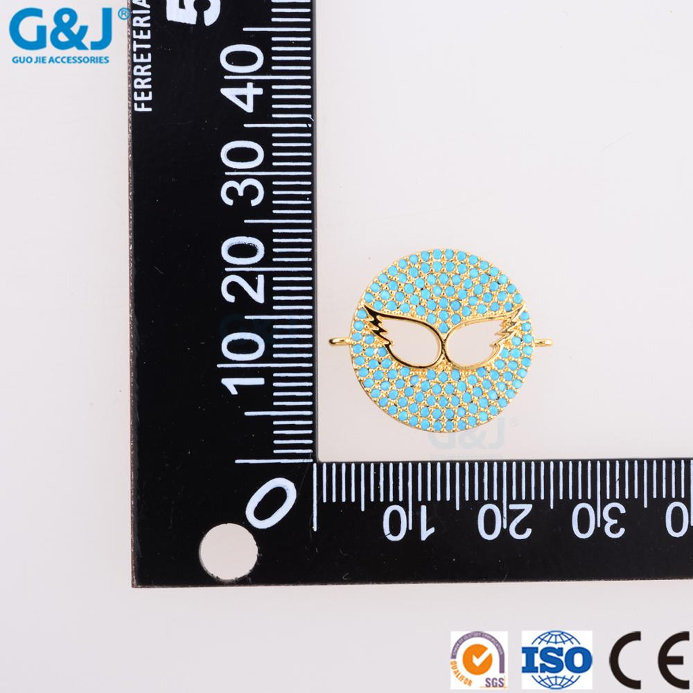 guojie brand wholesale well-designed micro pave CZ round wings of an angel jewelry charm pendant for DIY jewelry