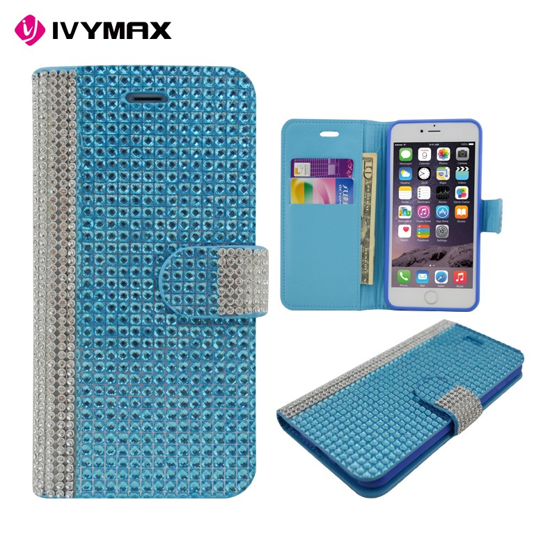 Diamond bling magnet flip leather case cover for iphone 6s plus