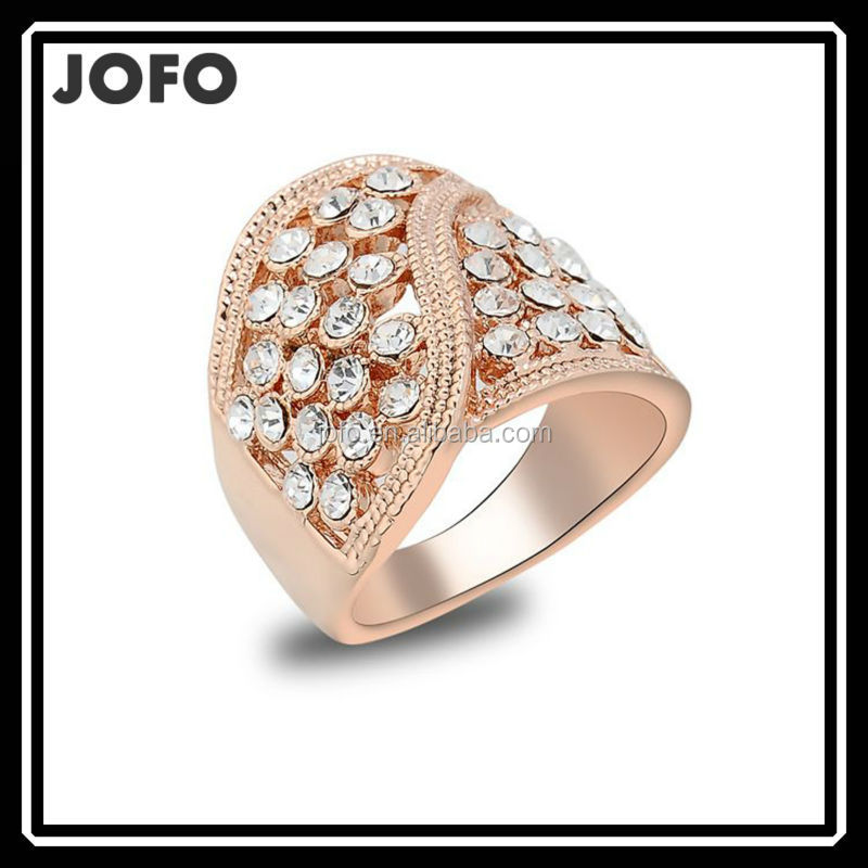 JOFO Christmas Gift Rose Gold Plated Ring,Austrian Crystals Ring Nickle free Antiallergic Factory prices FGJ0044