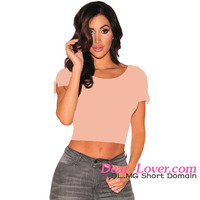 Wholesale Cheap Modern Blush Ribbed Lace Up Sleeves Crop Top latest tops for girls